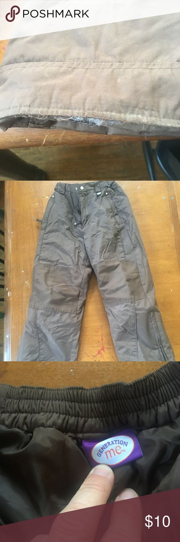 Kids ski pants.  Generation Me Brown ski pants. Gently used. Only worn spot is on bottom of leg as shown in pic. generation me Other