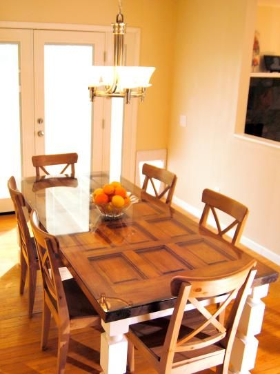 how to build a dining table from an old door and posts. Interior Design Ideas. Home Design Ideas