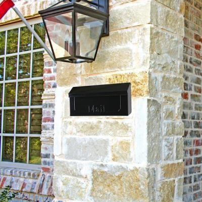 gibraltar mailboxes townhouse black steel horizontal wallmount mailbox
