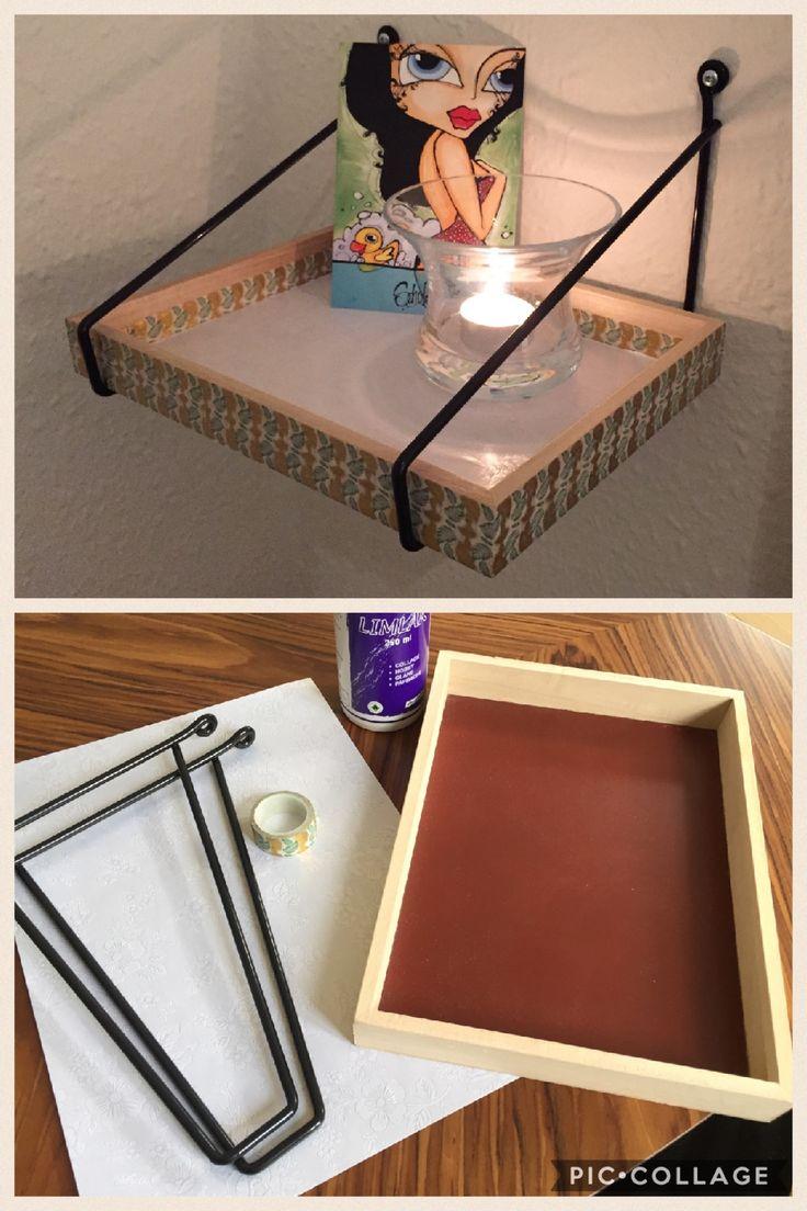 Hjemmelavet natbord/hylde med ting fra Søstrene Grene