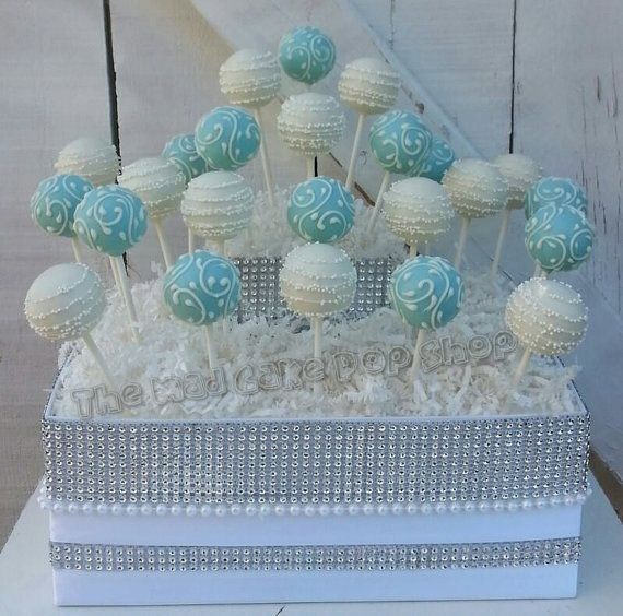 Turquoise/Robin Egg Blue and White Swirl Cake by TheMaDCakePopShop