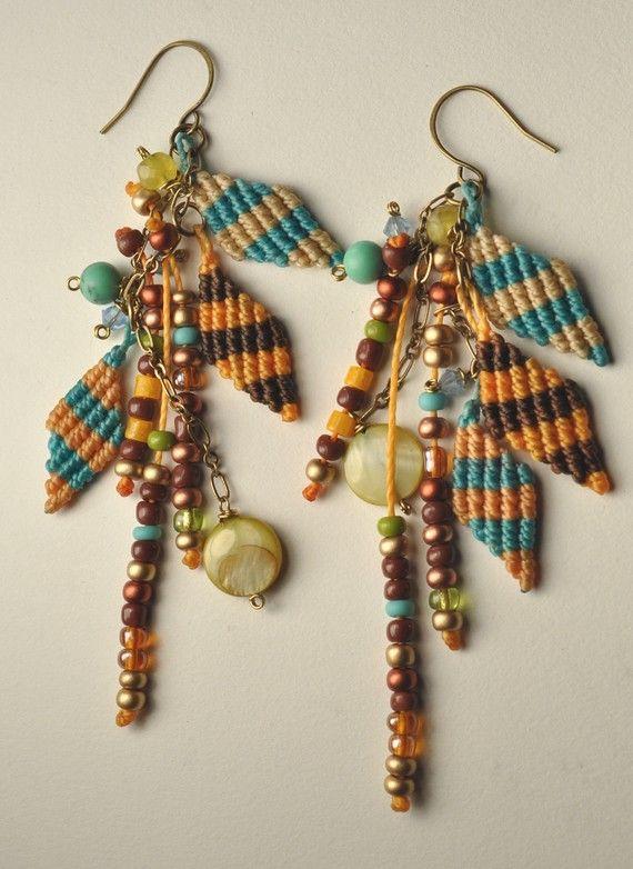 macrame beads earrings