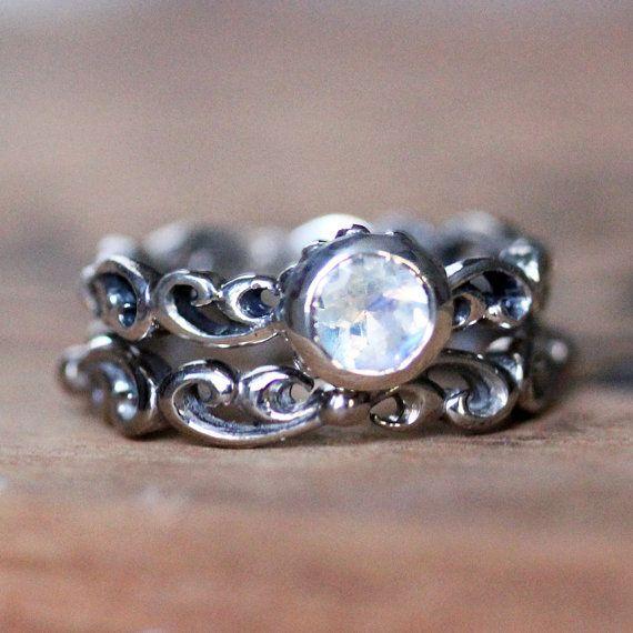Rainbow moonstone engagement ring set - moonstone engagement ring, bezel ring, mini Water Swirl ring, June birthstone - custom made to order, $340.00