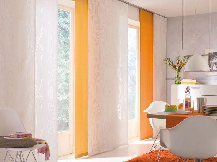Panele okienne, Panel Trac, kolor biały, kolor pomarańczowy, jadalnia, dining room, jadalnia - http://www.mkstudio.waw.pl/inspiracje/