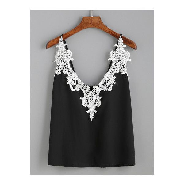 SheIn(sheinside) Black Embroidered Lace Applique Cami Top (£6.79) ❤ liked on Polyvore featuring tops, black, beach tank tops, lace tank top, cami tops, lace camisole and cami tank tops