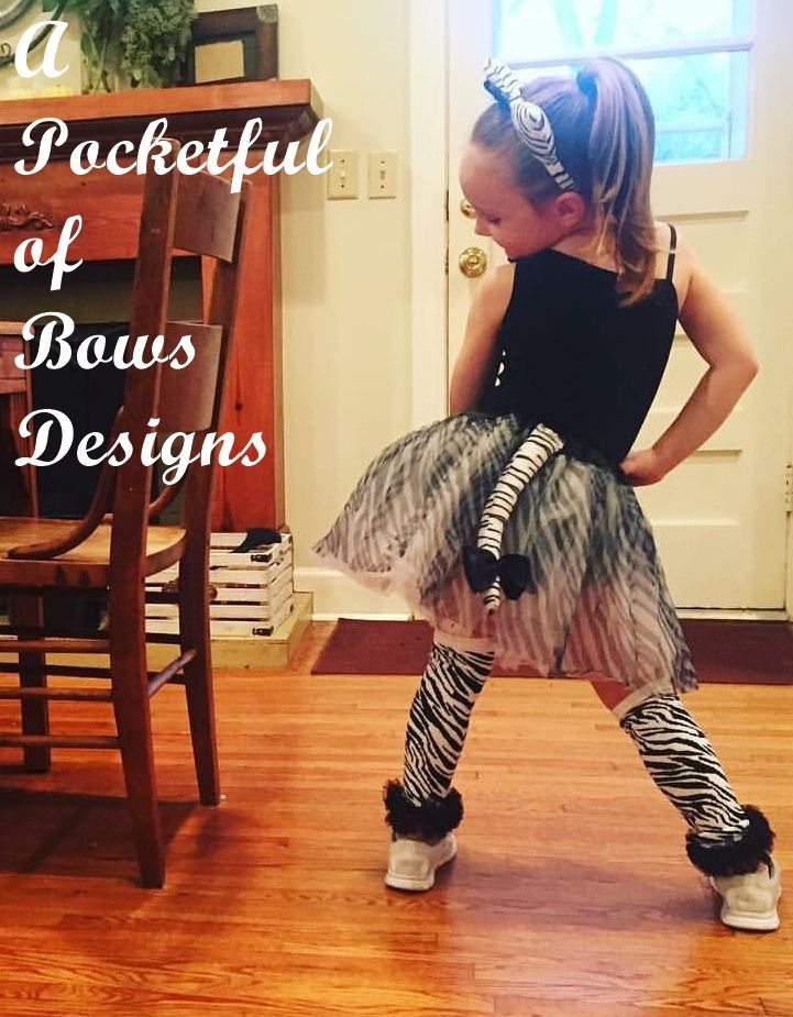Zebra Tutu Halloween Costume with Zebra Ears and Tail