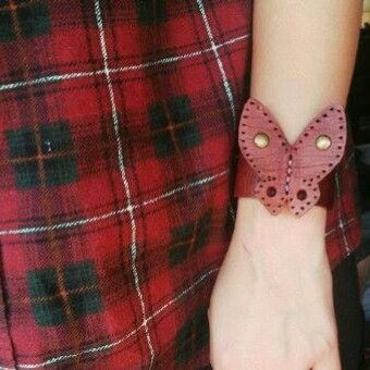 Leather ladies butterfly cuff
