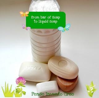 liquid soap DIY -  Fai da te il sapone liquido da una saponetta solida con etichette da stampare