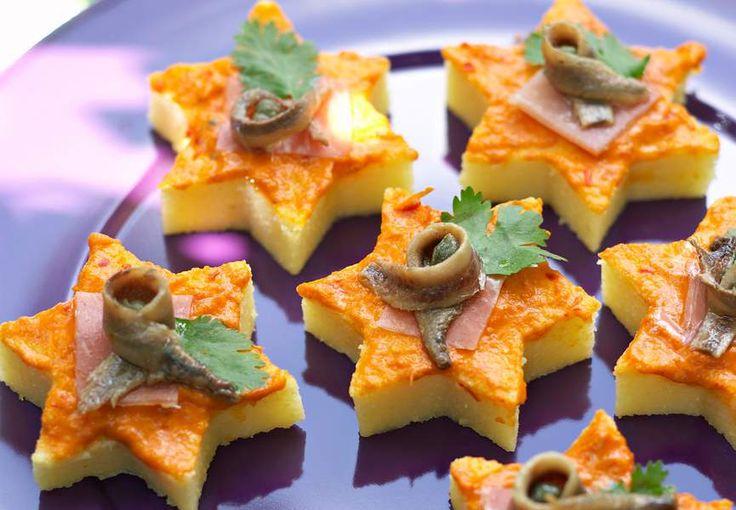 Etoiles de polenta à la poivronade