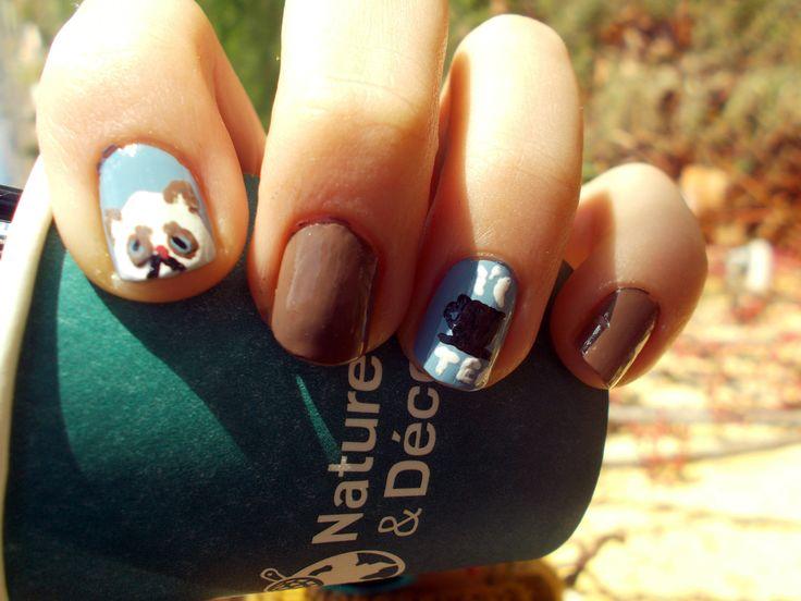 nail art grumpy cat and tea ;) lisouille