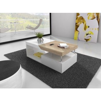 table basse avec rangement coloris blanc laqu et bois - Table De Salon Blanc Laque