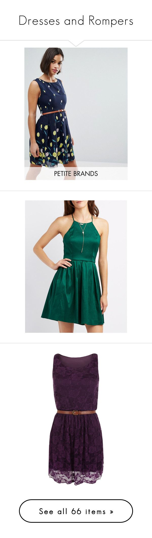 """""""Dresses and Rompers"""" by bama-destiny on Polyvore featuring dresses, navy, petite, chiffon skater dress, navy blue dress, loose fitting dresses, pleated dresses, skater dresses, emerald and emerald cocktail dress"""