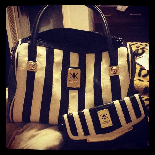 Black and white striped Kardashian Kollection handbag and clutch.  Absolutely in love with these!