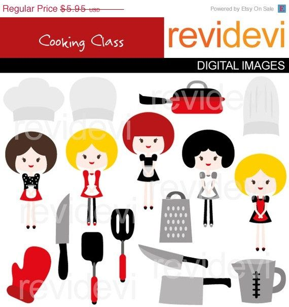 80% OFF SALE Cooking Class Clipart 07197.. Digital by revidevi
