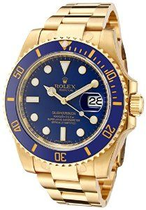 Rolex Men's Submariner Automatic Blue Dial Oyster 18k Solid Gold ♒Thank You♒I Love You♒