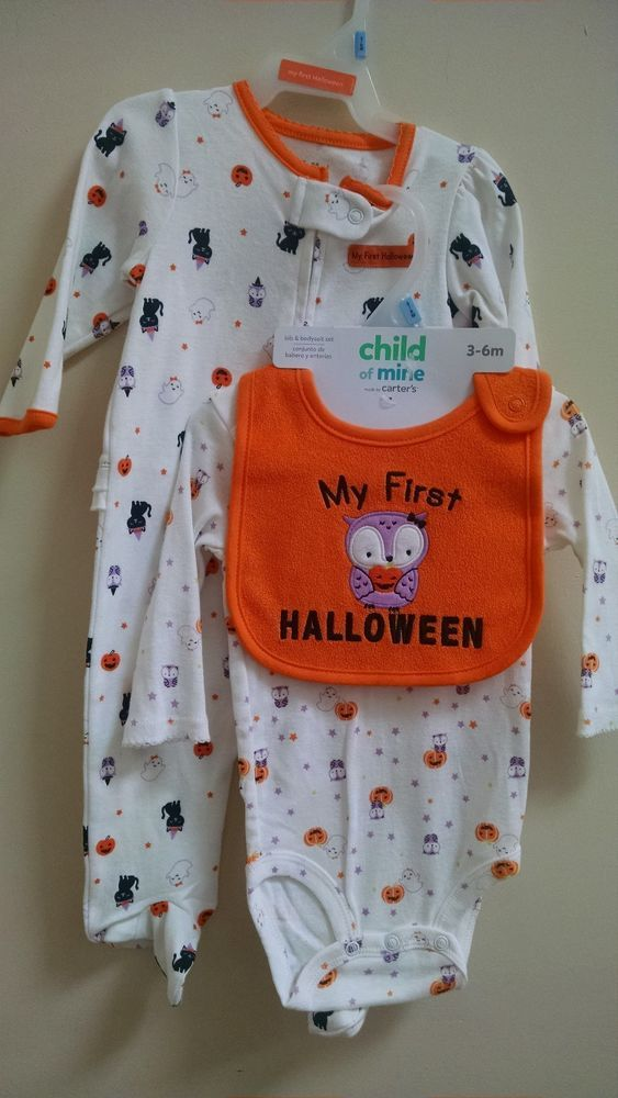 508219475 Carters Infant First Halloween Sleeper And Bodysuit Size 3-6 Months ...