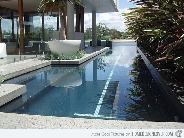 Some Articles Note That A Narrow Pool Creates A Lot Of Waves When Swimming But Think That Is With Skimmers Like Lap Pools Backyard Lap Pool Designs Lap Pool