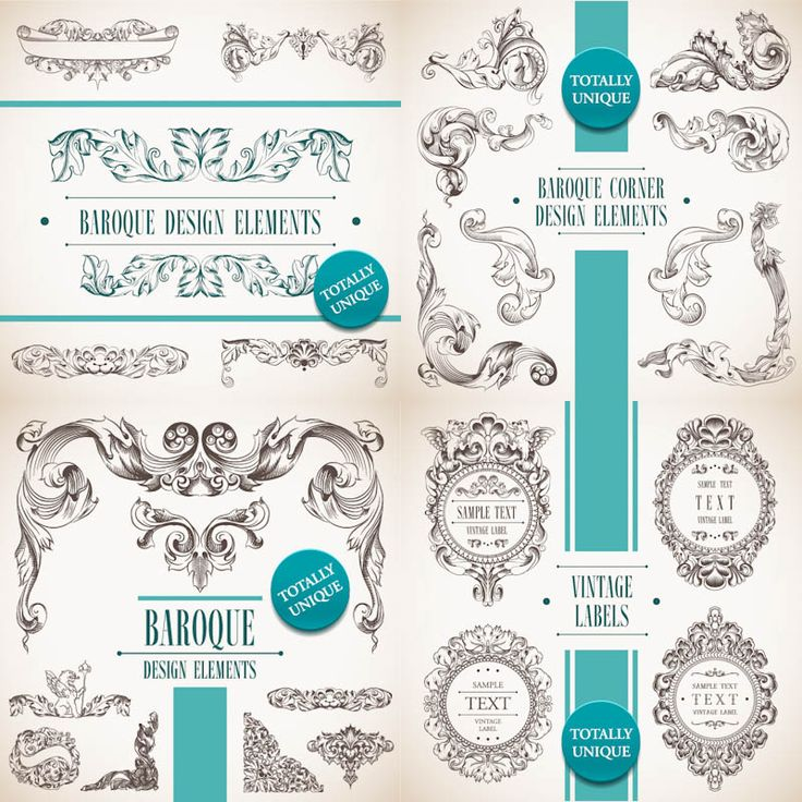 4 sets of vector decorative baroque design elements in for Baroque design elements