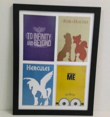 poster filmes animados: toy story, the fox and the hound, hercules, despicable me - decoração sem marca