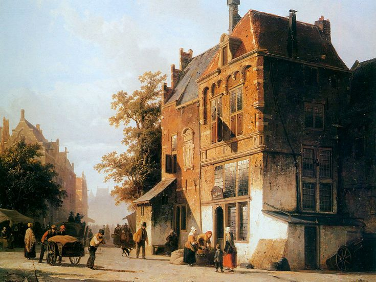 Pintura flamenca paisaje del siglo XIX: Springer, Cornelis (1817-1891)