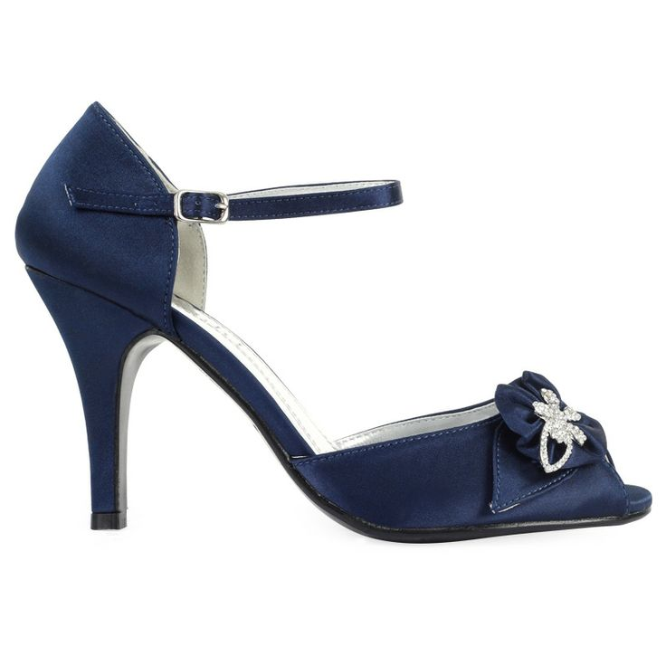 navy blue satin peeptoes | LADIES NEW NAVY BLUE DIAMANTE FLORAL WOMENS PEEP HIGH HEEL BRIDAL ...