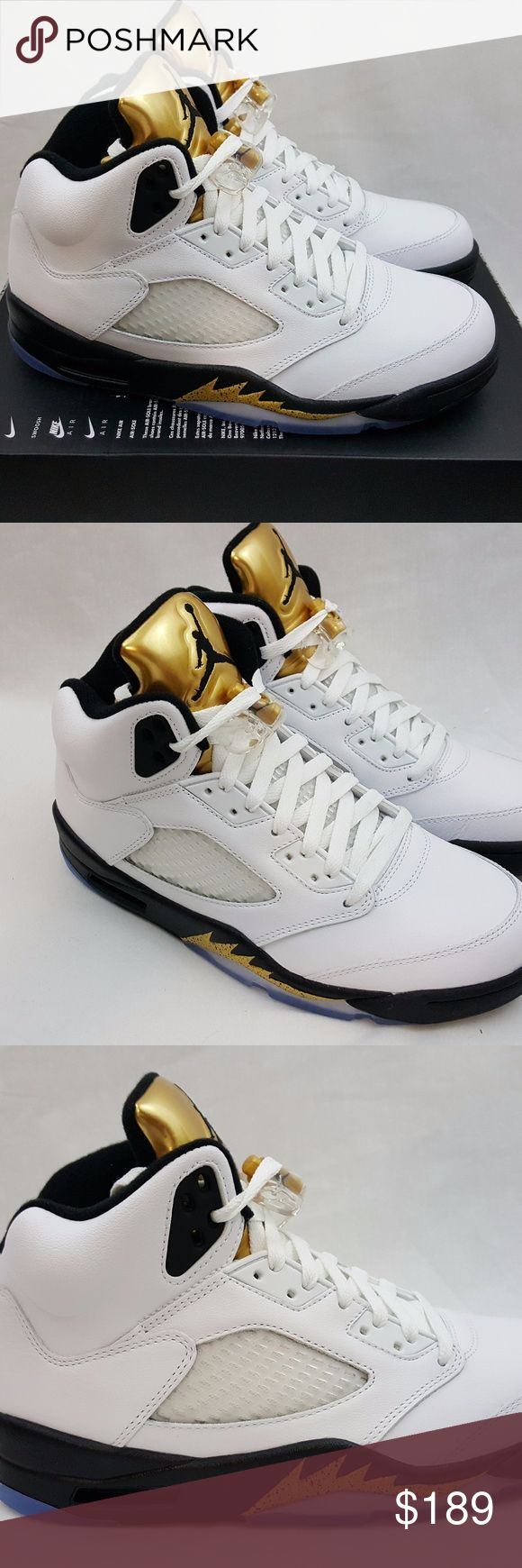 Nike Air Jordan 5 V Retro Olympic Gold Medal 2016 Nike Air Jordan 5 V Retro Olympic Gold Medal Sneakers 136027-133 Size 7.5 Brand: Nike Name: Air Jordan 5 V Retro Olympic Gold Medal  Colorway: White Black Gold Style Code: 136027-133 Year of Release: 2016 Size: 7.5 Condition: Brand new with box. Box top is missing the lid. Included Accessories: NA Additional Information: 100% authentic merchandise or your payment will be refunded in full. Air Jordan Shoes Athletic Shoes