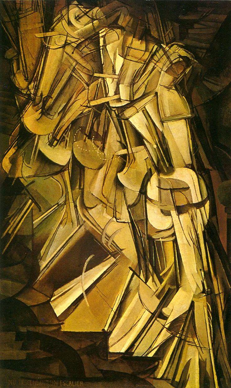 Marcel Duchamp: Naakt de trap afdalend nr. 2, 1912 - Ritme en herhaling van vormen en lijnen, over de diagonale assen gecomponeerd, suggereren de dynamische beweging van het traplopen.