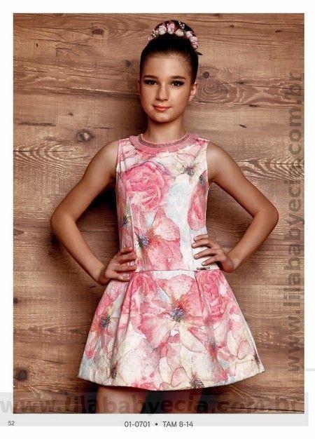 Vestido leve com estampa exclusiva da nova coleção Diforini Moda Infanto Juvenil Outono Inverno 2016.