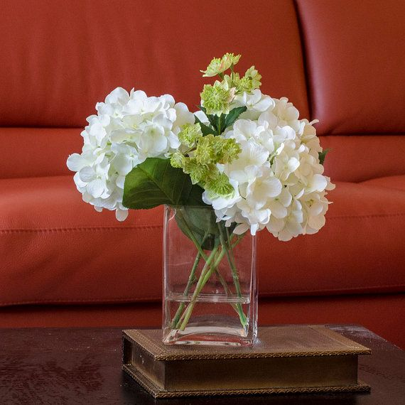 White Hydrangea Arrangement Silk Flowers Greenery Spray Artificial Faux in Tall Square Vase