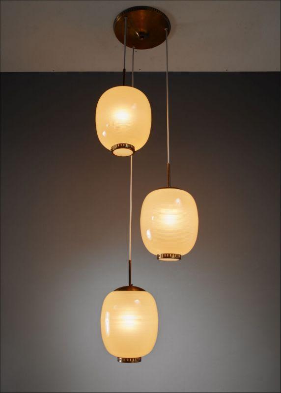Rare Bent Karlby Striped Glass Chandelier Denmark 1950s Glass Chandelier Brass Pendant Lamp Glass Diffuser