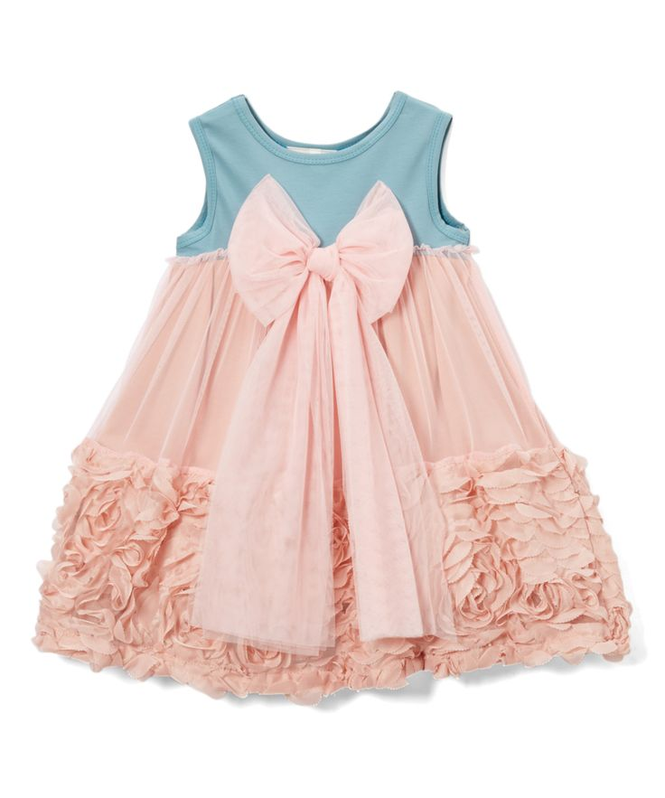 Sea Green & Pink Rosette Bow Sleeveless Dress - Infant