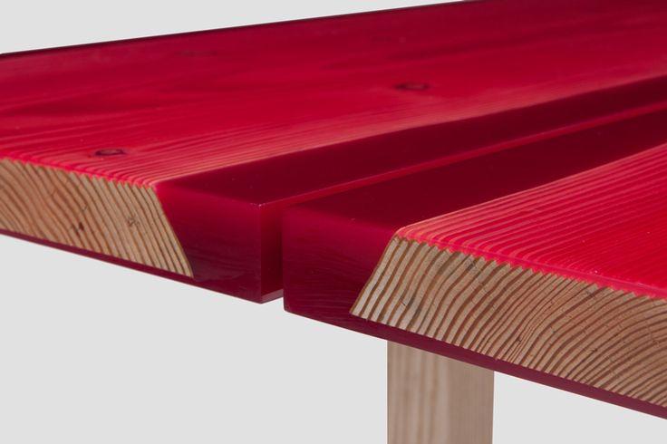 Jo Nagasaka/Established & Sons » Udukuri Table. Resin and wood.