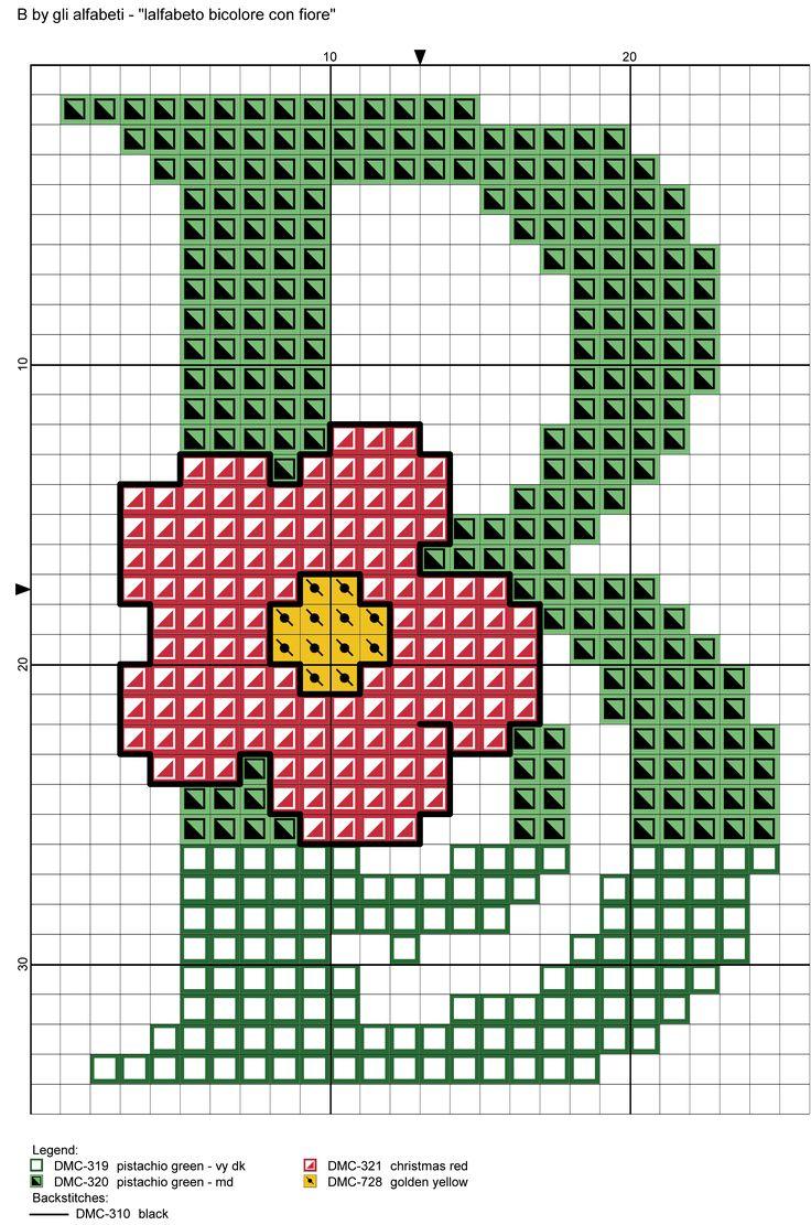 alfabeto bicolore con fiore: B