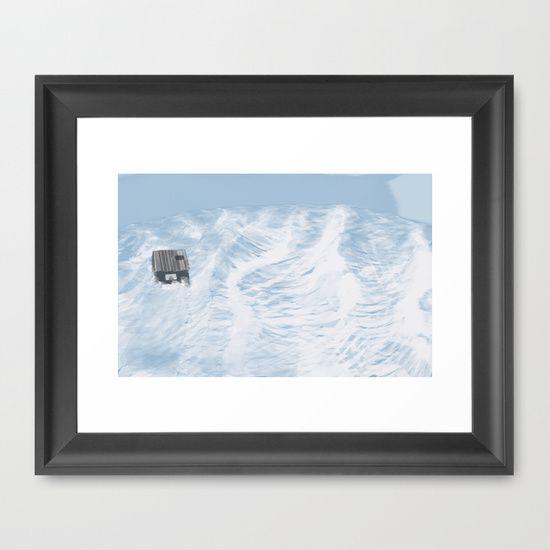 I feel like we don't belong here - Husky in the Ocean Framed Art Print by Miba