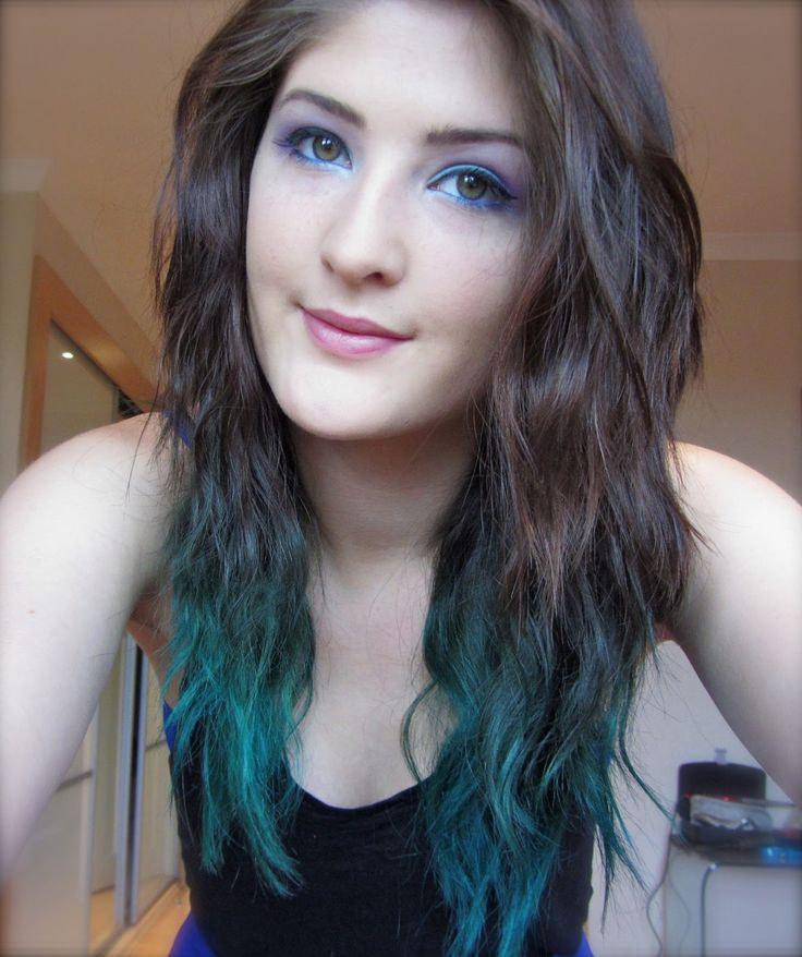 brown to blue dip dye hair ideas pinterest