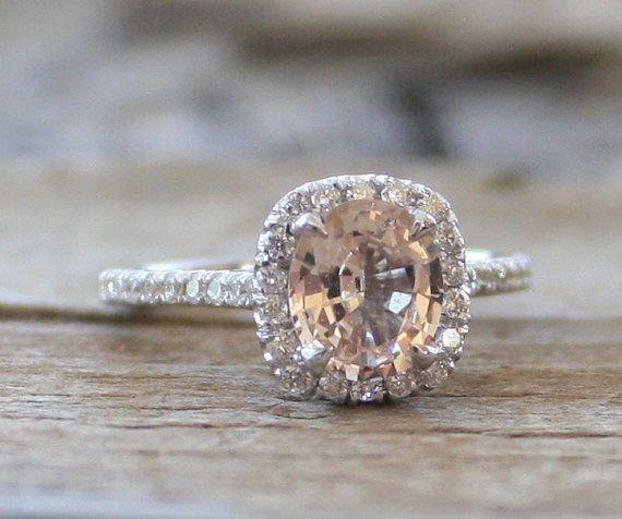 Oval Cushion Champagne Peach Sapphire Diamond Halo by Studio1040