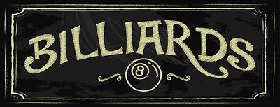 Billiards Street Metal Sign, Pool, Game Room, Mancave, Den, Wall Décor