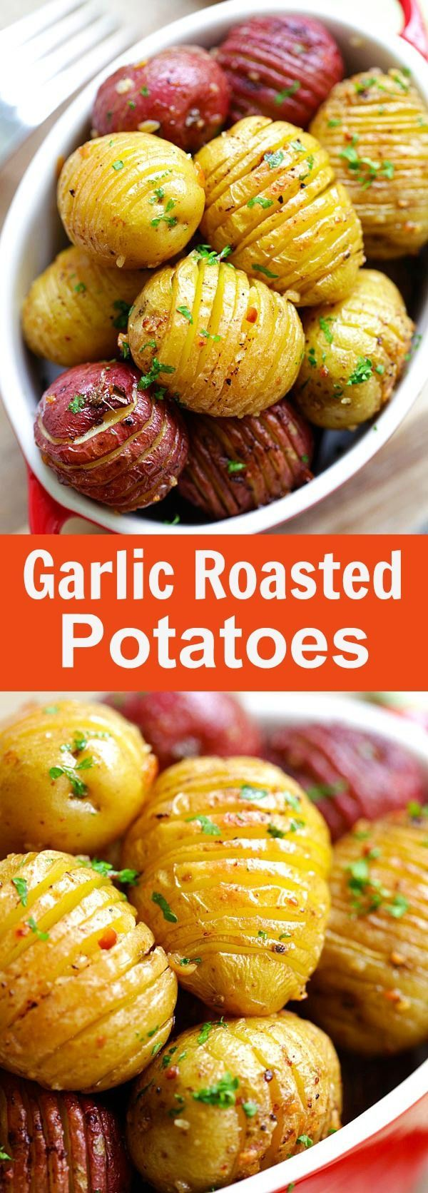 cool Garlic Roasted Potatoes – best and easiest roasted potatoes with garlic, butte...