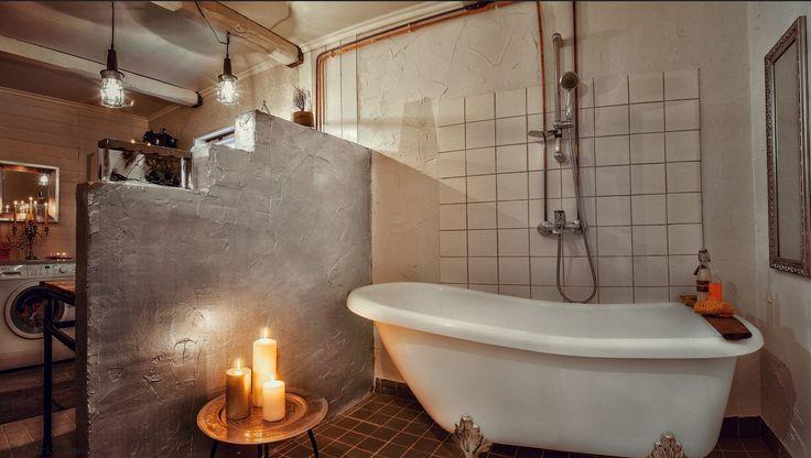 kylpyamme, kylpyhuoneremontti, kynttilä, opiskelija Marica Juka-Lämsän totettuamana. Aikuiskoulutus.