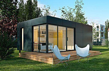 CUBROOM 2 Studio de jardin de 26 m². Bardage trespa noir. Idéal pour accueillir dans votre jardin une pièce supplémentaire pouvant servir de chambre d'amis, de chambre d'hôtes, de studio pour étudiant. Idéal pour rentabilisez votre foncier... Pensez aussi au AIRBNB