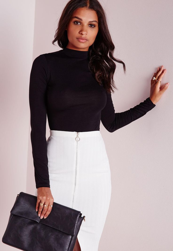 Missguided - Long Sleeve Turtle Neck Top Black