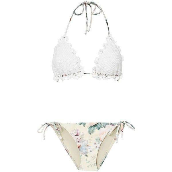 Zimmermann Women's Jasper Crochet Triangle Bikini (6.040 UYU) ❤ liked on Polyvore featuring swimwear, bikinis, bikini, swimsuit, bathing suit, plage, floral, bikini swimsuit, scalloped bikini and crochet bikinis
