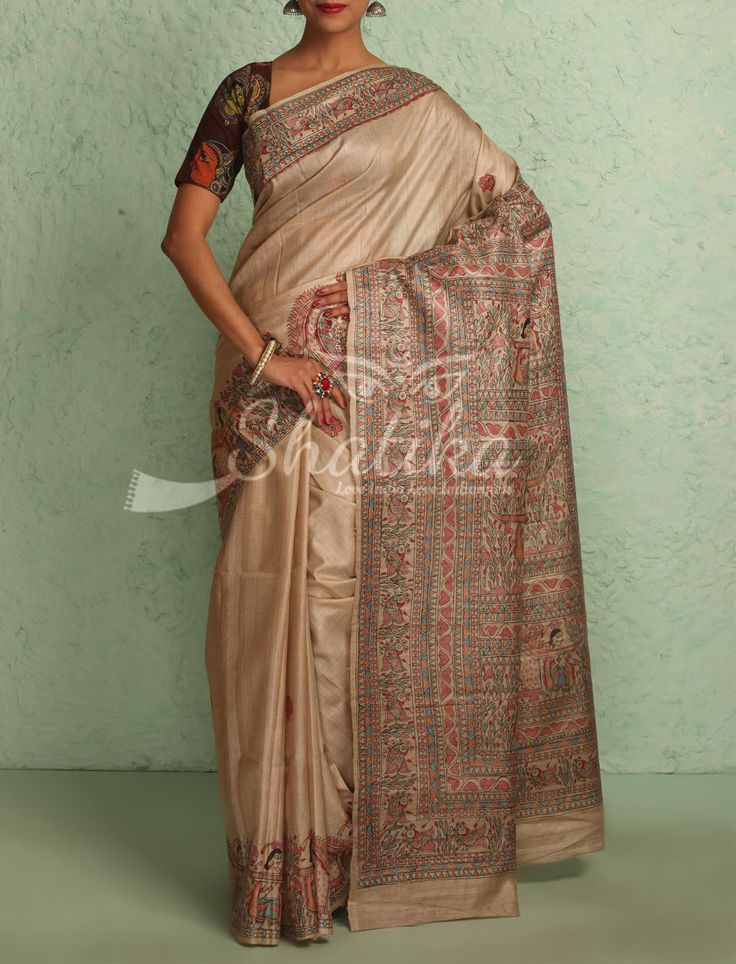 Kausalya Pastel Buff With Intricate Handpainted Border Pallu Madhubani Silk Saree