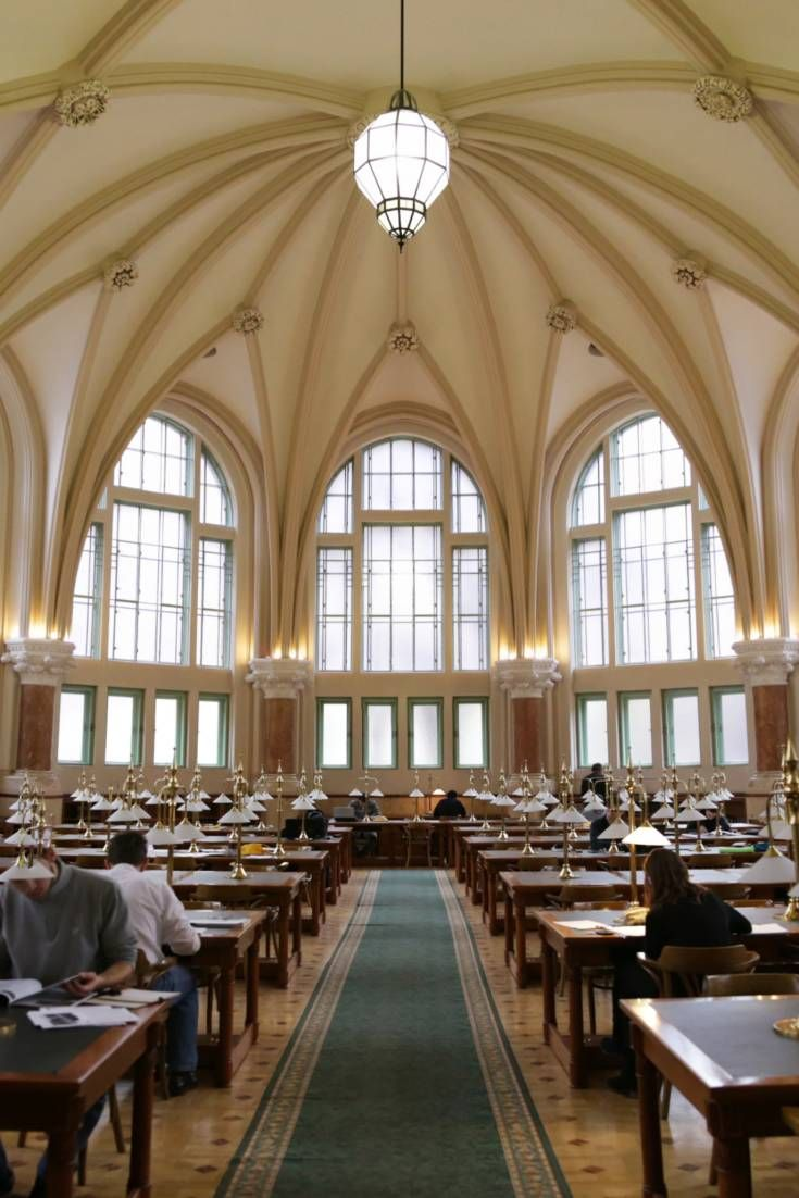 From its high, cathedral-like ceilings to the geometrically placed reading tables, the library in Budapest's University of Technology is perfect for film and photo shoots.