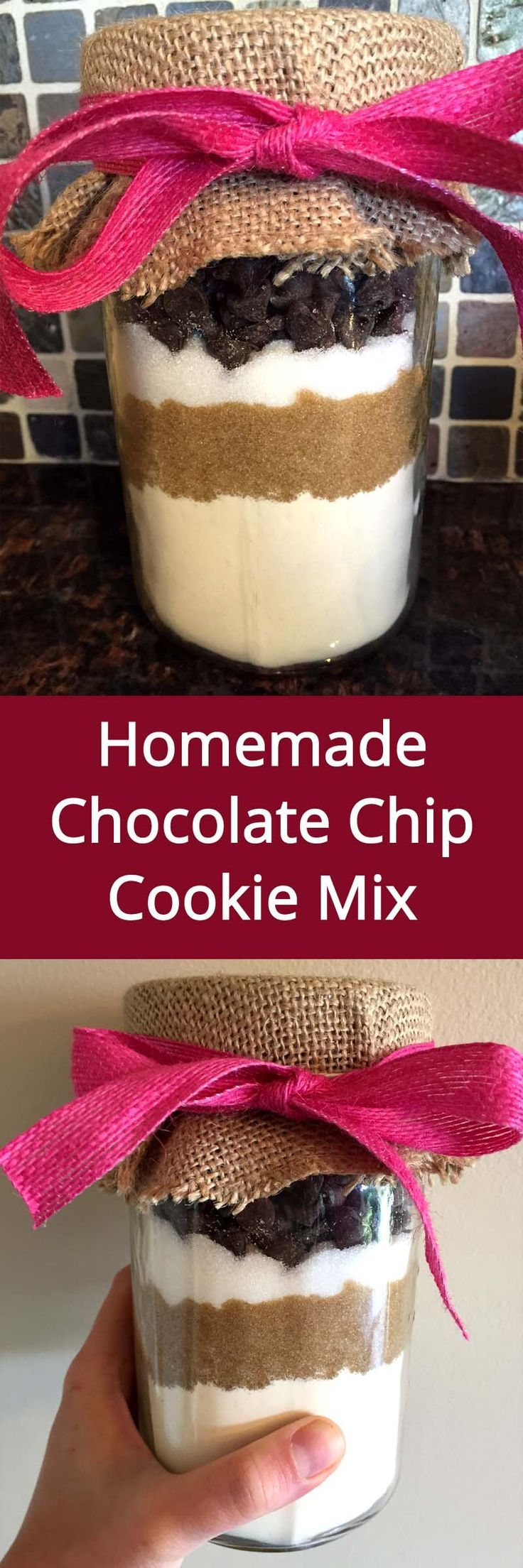 Homemade Chocolate Chip Cookie Mix In A Jar - awesome gift idea! (from MelanieCooks.com)