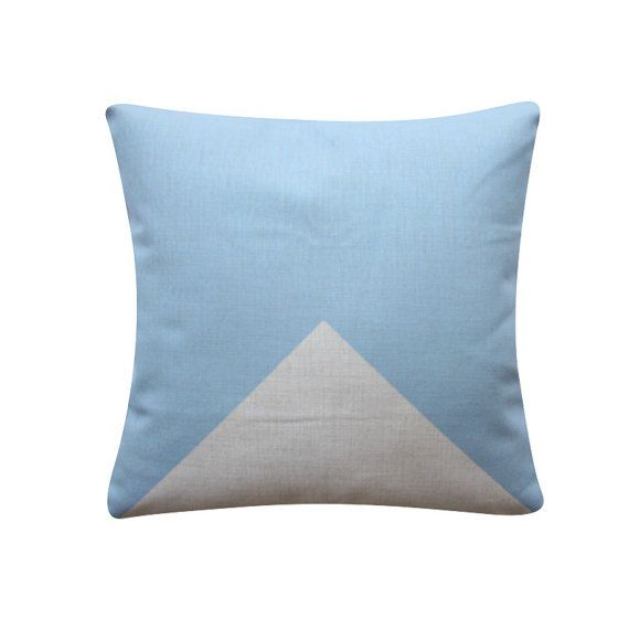 Aqua Triangle Pillow Cover Minimalist Cushion Geometric