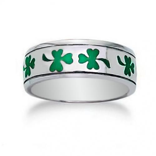 Green Sterling Silver Clover Shamrock Mens Band Ring Engravable
