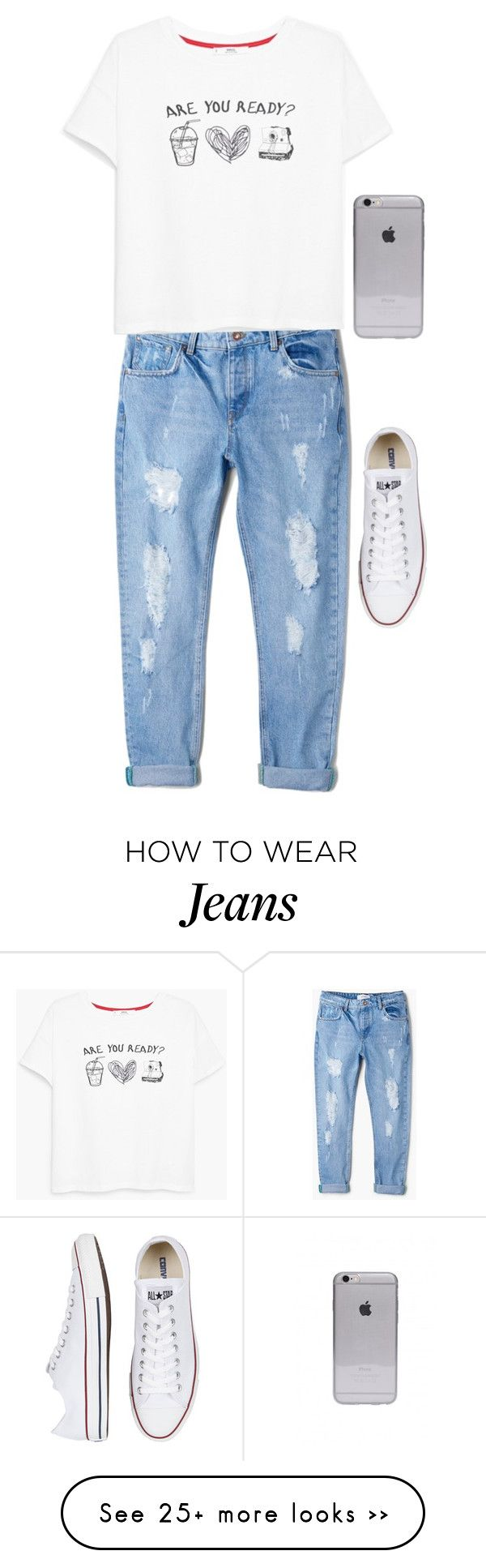 """""""Boyfriend jeans"""" by meljordrum on Polyvore featuring MANGO and Converse"""