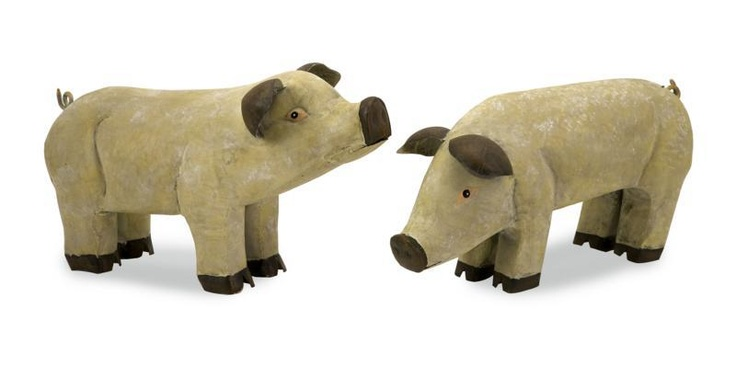 """Wilber Metal Hand Painted Piglets - Set of 2 fun, farm pigs that lighten the mood of any room. Material: 100% Wrought Iron. 9""""h x 12.5-16""""w x 5.5""""."""