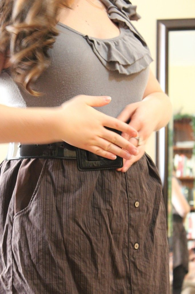 Upcycled brown pinstripe skirt and wide black belt with ruffled grey shirt ~ outfit of the day ~ fashionable outift